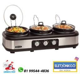 Rechaud Elétrico Triplo Buffet Slow Cooker 3 Panelas- 220v só Zap