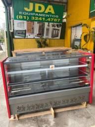 Balcão avícola refrigerado com 2 placa fria bandeja em inox - tamanho 1,75m