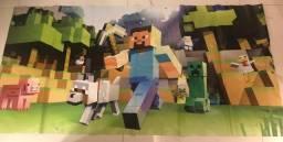 Kit decoração infantil Minecraft - painel, bolo fake, plaquinhas - usado
