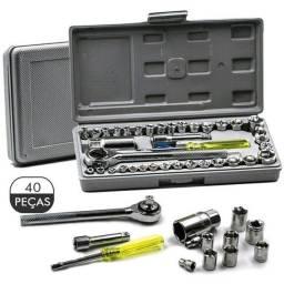 Kit Jogo De 40 Chaves Soquetes Catraca Reversível Maleta S40