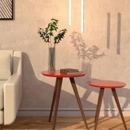 Jogo de mesa de canto redonda Vermel