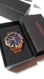 Relógio Megir dourado aço inoxidável (Novo)