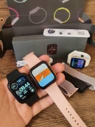 Smartwatch IWO FK99 Série 6 44mm, 02 Botões, 02 pulseiras, 50 Faces e Foto na tela