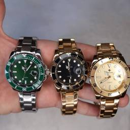 Relógios Masculino de Pulso Luxo Wwoor Originais Analógico Dourado Prova de Água Garantia.