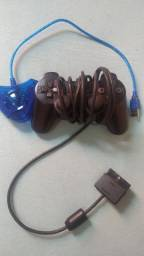 Controle de PS2 e adaptador de controle de vídeo game para PC