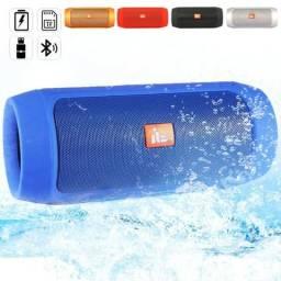 Caixa de Som Bluetooth JL Azul, com USB e cabo P2 Prova dágua