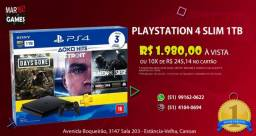 Ps4 Novo Slim 1 TB + 3 jogos (Jogos Days Gone / Detroit Become Human / Rainbow Six Siege)