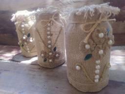 Três potes artesanais decorativos!