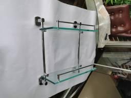 Porta Shampoo em vidro jateado e aço inox