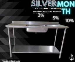 Pia inox 100% inox silver month mês prata na aser inox