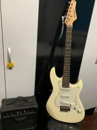 Guitarra Strinberg Branca + Caixa Amplificadora