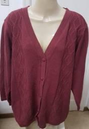 Para usar em casa: casaco lã acrílica plus size GG4 bordô Ellis