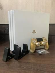 Ps4 Pro Branco 1tb + Dualshock 4 Dourado Personalizado