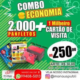 Combo Econômico de Divulgação: Panfleto + Cartão de Visita