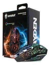 Mouse Gamer Rayden 2400DPI c/ led RGB Evolut novo e garantia