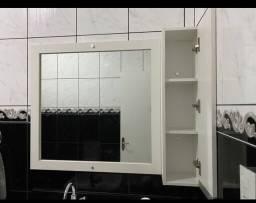 Espelhoc moldura em mdf e armário para banheiro com divisora
