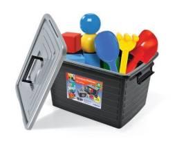 Caixa organizadora 35 litros preta arqplast, ferramentas, brinquedos