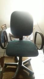 Cadeira Presidente Giratória Braços Tecido Azul