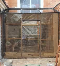 Janela vidro temperado usada