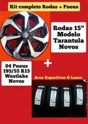 """Rodas 15"""" com pneus novos"""