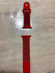 Pulseira para Apple Watch, cor vermelha e preta, estilo Nike Edition.
