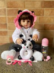 Linda Boneca bebê Reborn toda em Silicone Realista 48cm Nova Original (aceito cartão