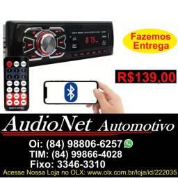 Radio Com Bluetooth Controle Fm Aux Usb Pendrive Som Mp3 Player Carro Toca cd