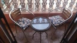 431d0eac8 Mesa e 2 Cadeiras com Estofado para Varanda Quintal Jardim Veraneio