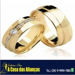 Alianças ouro 18 k com pedra de brilhantes