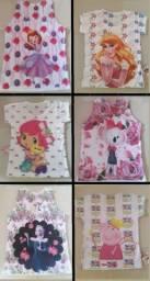 Camisetas infantis, diversos personagens