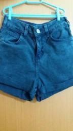Short jeans azul marinho cintura alta C&A
