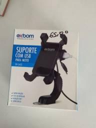 Suporte com USB para Moto , Exbom. Novo.