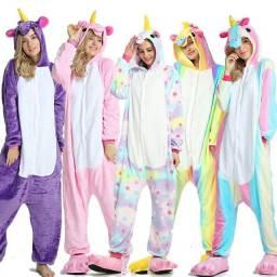Pijama de Unicórnio Azul, Rosa, Lilás, Estrela, Colorido, Arco íris Adulto
