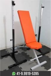 Kit Banco reclinável + Suporte de Supino Vão Livre.Musculação.Novo.Fabricação Própria!