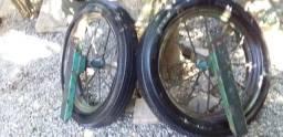 Título do anúncio: - Jogo de Rodas com pneus e suportes  para Charrete