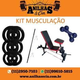 Kit musculação: Anilha + Halter + Barra + Banco