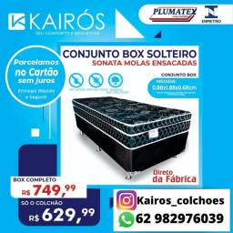 PROMOÇÃO, Conjunto Box Solteiro Sonata Spring Black Colchão 26CM Molas Ensacadas