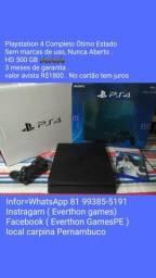 PS4 Completo , Sem marcas de uso , 3 meses de garantia