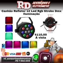CANHÃO REFLETOR 12 LEDS RGB COLORIDO JOGO DE LUZ