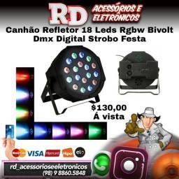 CANHÃO REFLETOR 18 LEDS RGB DMX BIVOLT JOGO DE LUZ