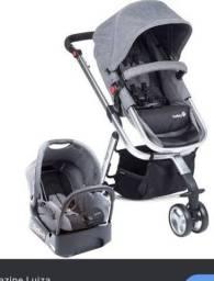 Carrinho de bebê safety prata e cinza