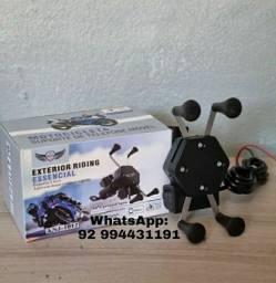 Suporte Celular Moto Com Carregador USB Suporte Garra Para Motocicleta