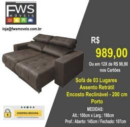 Sofa retratil e reclinavel 3 lugares