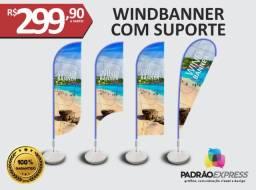 Windbanner com ou sem base, totalmente personalizado em 4 modelos