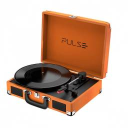 Caixa de som retro pulse suitcase vitrola 5w bt/aux/usb sp364