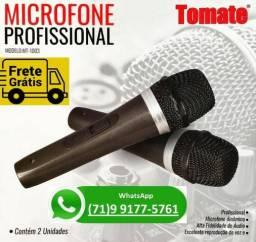 Kit Microfone Profissional Com Fio Duplo Tomate Mt-1003 2 Unidades (NOVO)