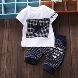 Conjunto Infantil Roupa Menino (Blusa E Short) 1 A 3 Anos
