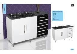 Balcão pra cooktop 4gavetas 2 portas barato