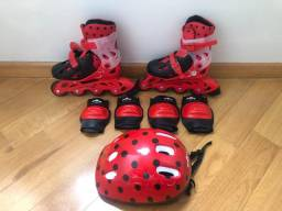 Patins Ladybug com kit completo 29 a 32