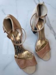 sapato lança perfume bege com dourado 36 salto 10